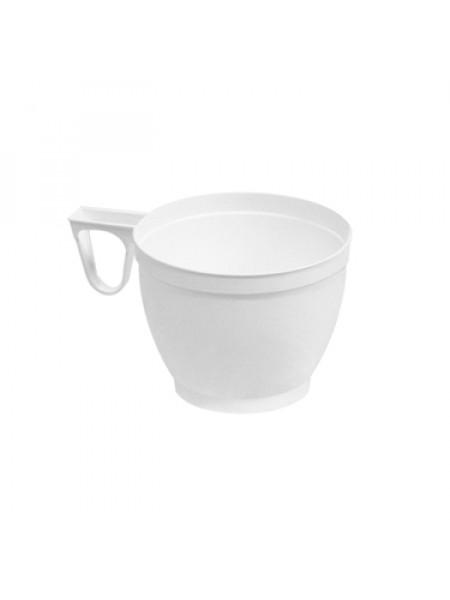 Kafijas krūzītes plastmasas 200 ml brūnas/baltas  50 gb